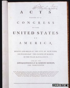 George Washington's Acts of Congress coming home to Mount Vernon. Bought at auction.
