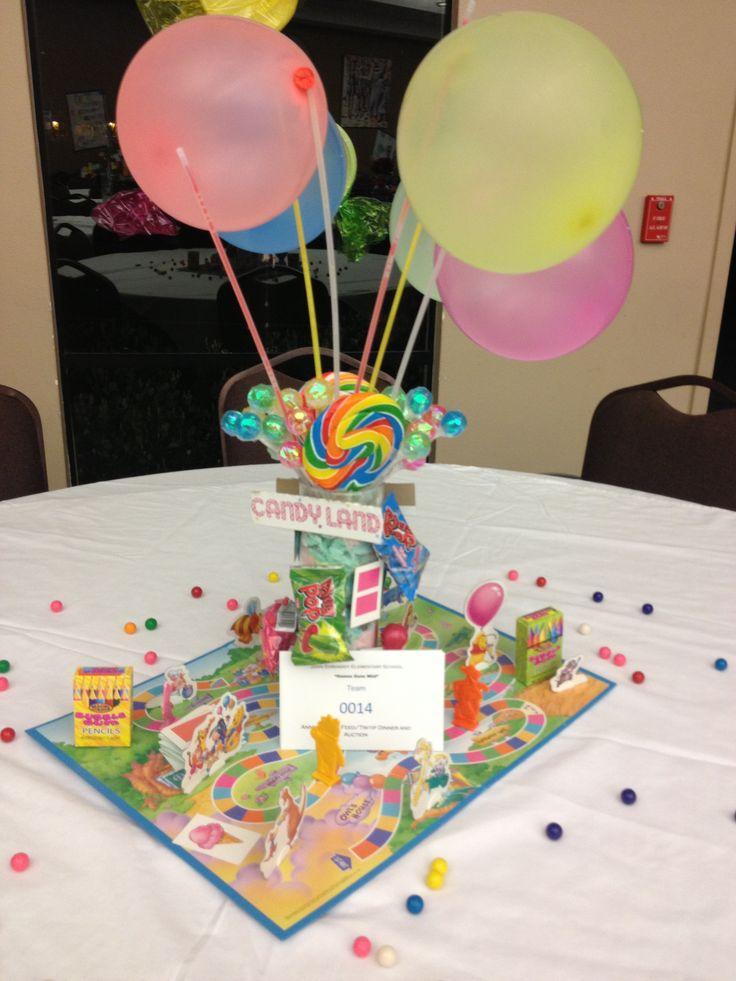 Candyland game centerpiece fundraising pinterest