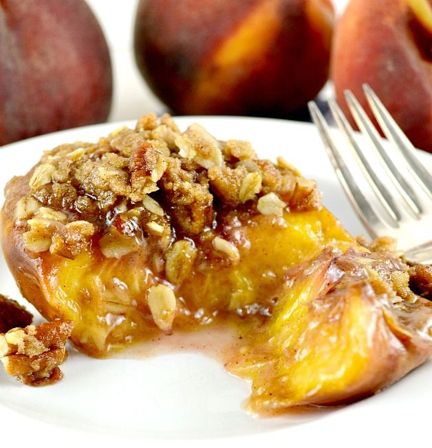 Roasted Peach Halves with Crumb Topping | Fruit Salads..Fabulous Frui ...