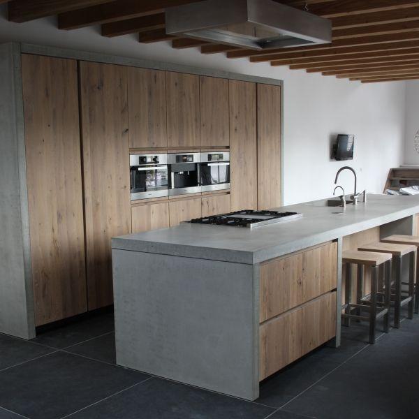 Keuken Grijs Hout : Combinatie Keuken Living