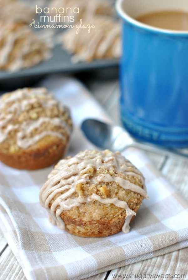 Cinnamon Glazed Banana Streusel Muffins: easy, delicious breakfast ...