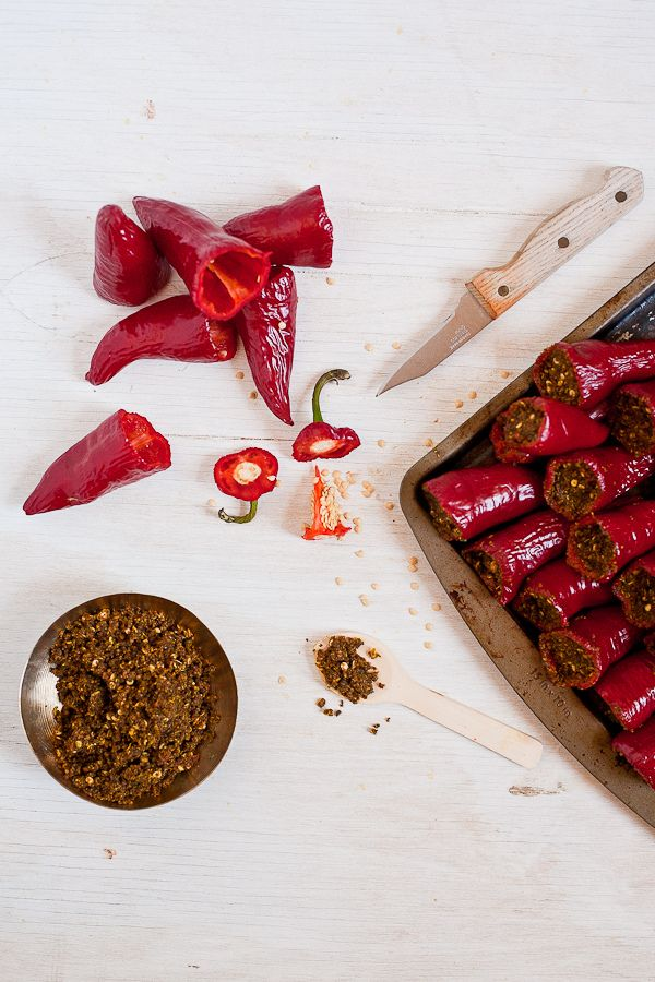 Pickling red chili peppers. | Condiments & Preserves | Pinterest