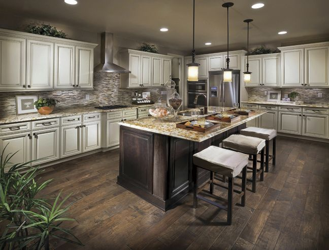 Dark wood floors cream counters one day pinterest for Dark kitchen cabinets with dark wood floors pictures