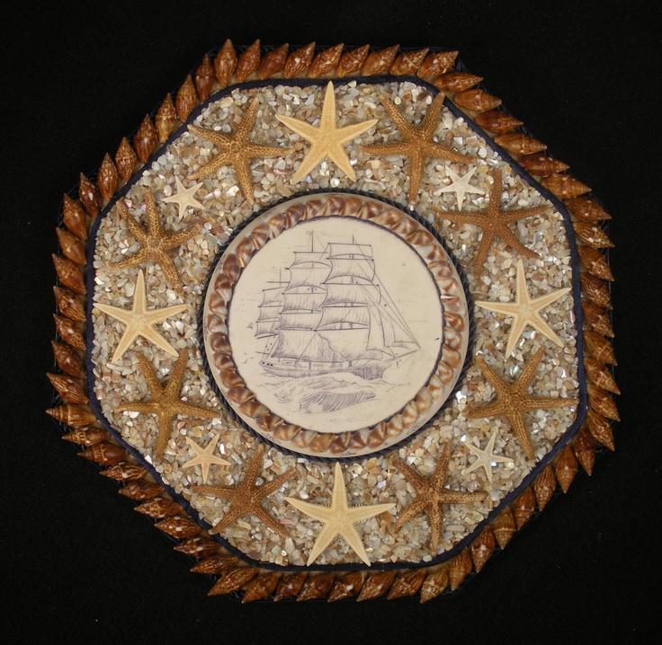 Sea shells mosaic art mosaics pinterest for Seashell mosaic art