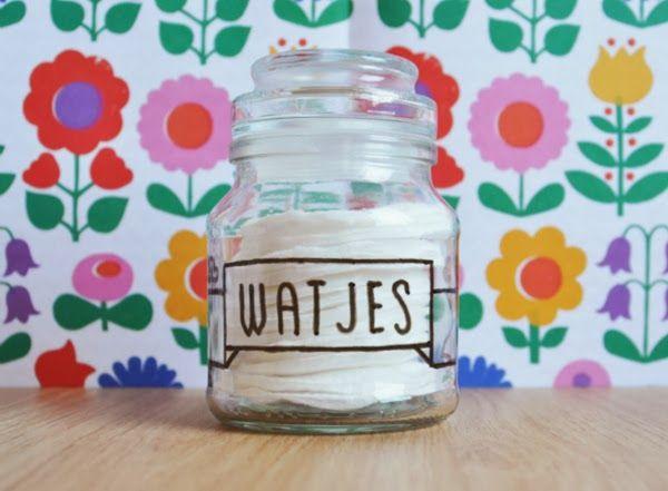 DIY Watjes Opbergen (glazen pot versieren)