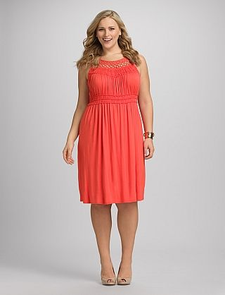 Plus size ruched coral dress dressbarn bridesmaids for Plus size coral dress for wedding