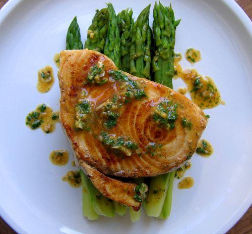 Swordfish w/ Smoked Paprika Shallot Butter over Asparagus. swordfish ...