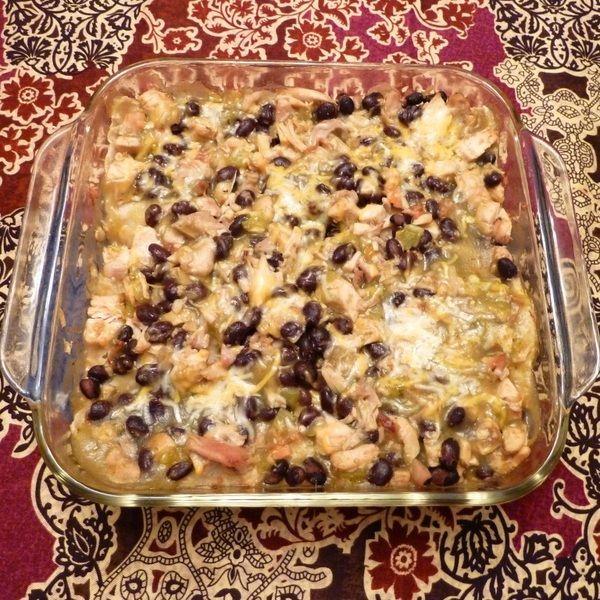 Chicken and Black Bean Enchilada Casserole Recipe - Seasoned chicken ...