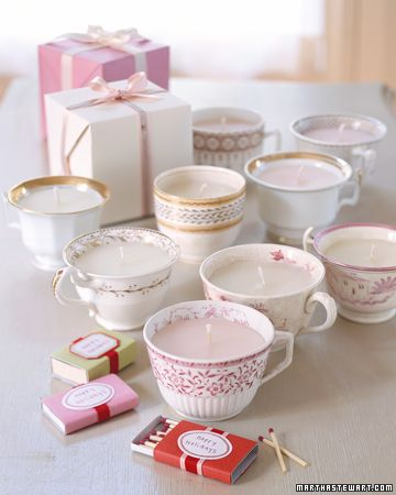 teacup candles /bonus idea: decorate matchbox to match candle when giving as a gift                                                                                                                                                                                                                       Teacup Candles                                                        Antique teacups that have lost their saucers still make sweet gifts when fitted with candles.