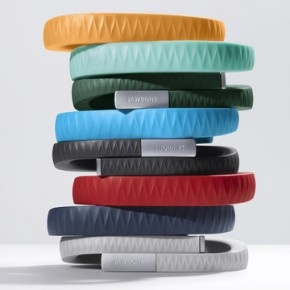 Up band by Jawbone. Tracks calories burned, calories consumed and even tracks your sleep patterns