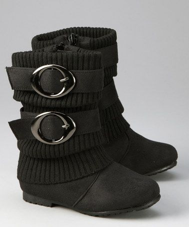 Black Sweater-Cuff Double-Buckle Boot by Anna Shoes on #zulily today