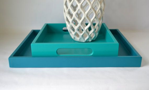 Teal blue 14 x 18 shallow wood decorative tray coffee for Shallow coffee table