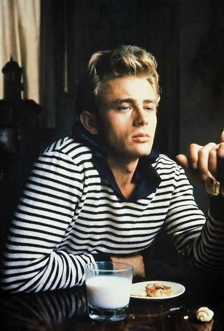 James Dean - The Breton stripe shirt. James Dean, Andy Warhol, Pablo Picasso, Joey Ramone, Coco Chanel, Jean Seberg, the list is endless of icons, male and female, who've sported the unisex nautical striped shirt. Born officially as part of the French sailors uniform to easily identify them if they fell overboard. The original shirt featured 21 stripes, one for each of Napoleon's victories.