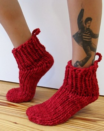 Bed Socks Knitting Pattern : Lucky 13 bed socks pattern by Julie Weisenberger