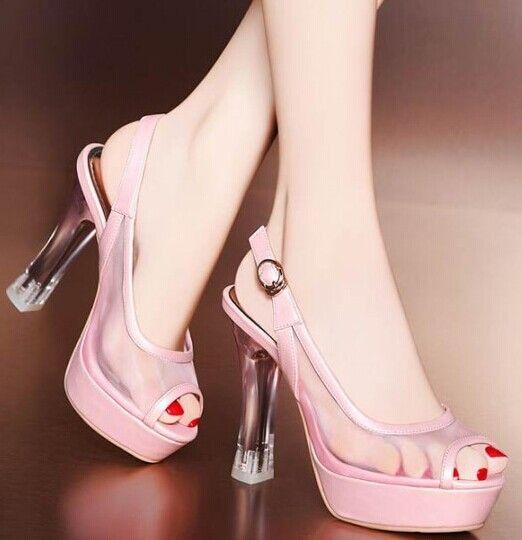 new see through toe platform high heels shoes