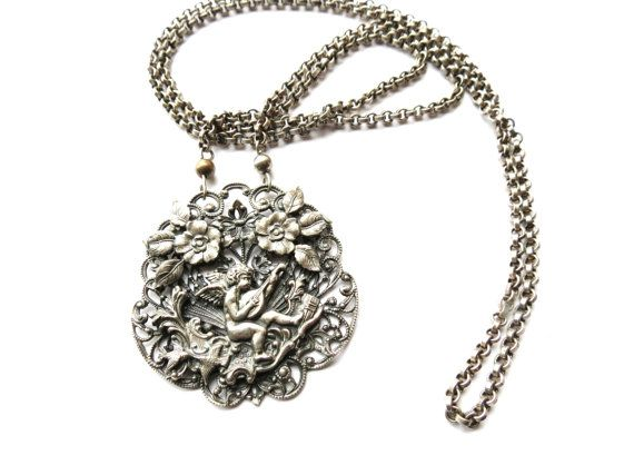 Womens Necklace Antique Vintage Cherub Angel by JewelActs on Etsy