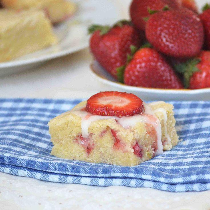Strawberry Lemon Cookie Bars With Lemon Glaze