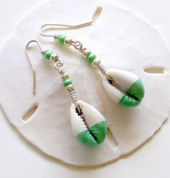 Cowrie Shell Earrings in Silver & Key Lime Green, Beach Jewelry, Dang ...