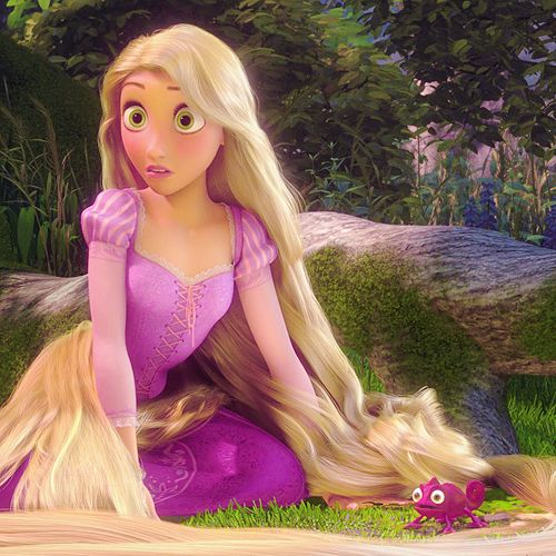 Rapunzel awakened by Eugene's screaming (I love the color of Pascal)