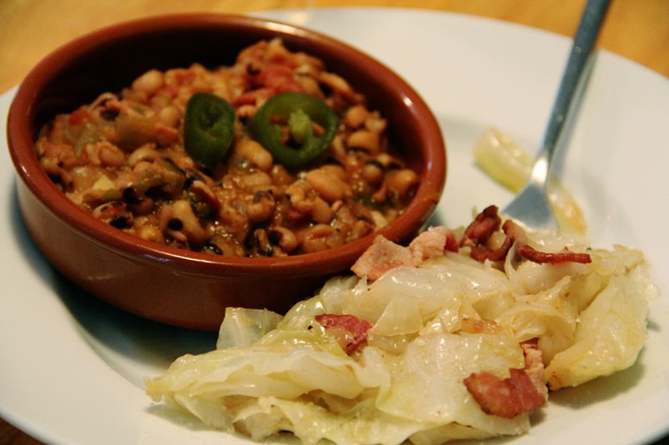 ... peas with bacon and jalapenos with sauteed cabbage w/ bacon & garlic