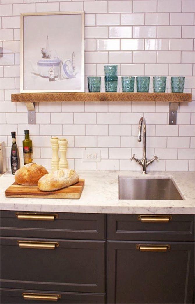 Dark cabinets subway tile backsplash home pinterest - Kitchen backsplash for dark cabinets ...