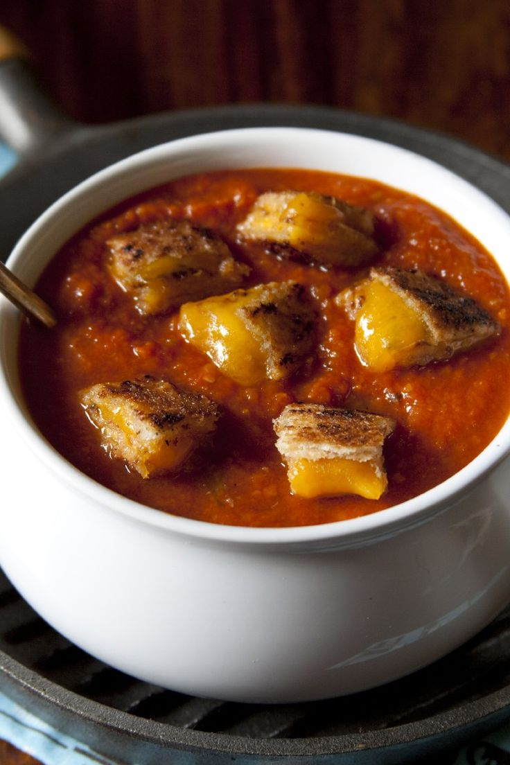 Easy Tomato Soup & Grilled Cheese Croutons Recipe