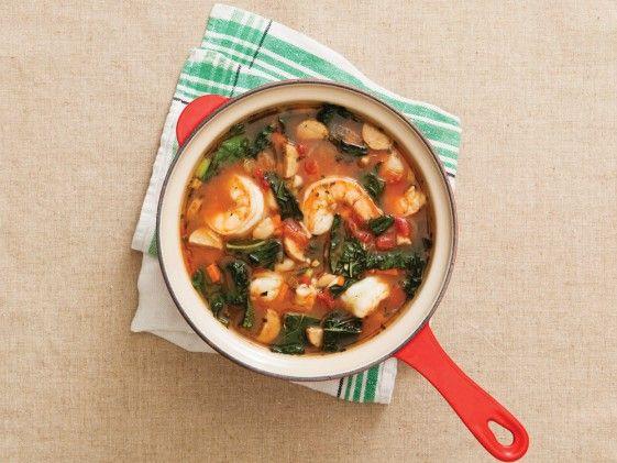 Tuscan Bean Shrimp Soup (minus the shrimp for Chris) Super spicy but ...