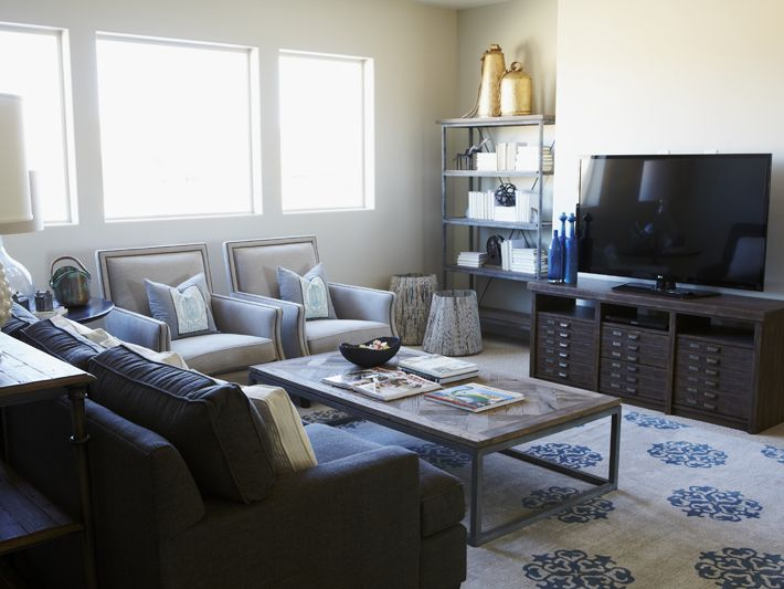 Crisp but casual tv room l i v i n g s p a c e pinterest for Casual chairs for family room