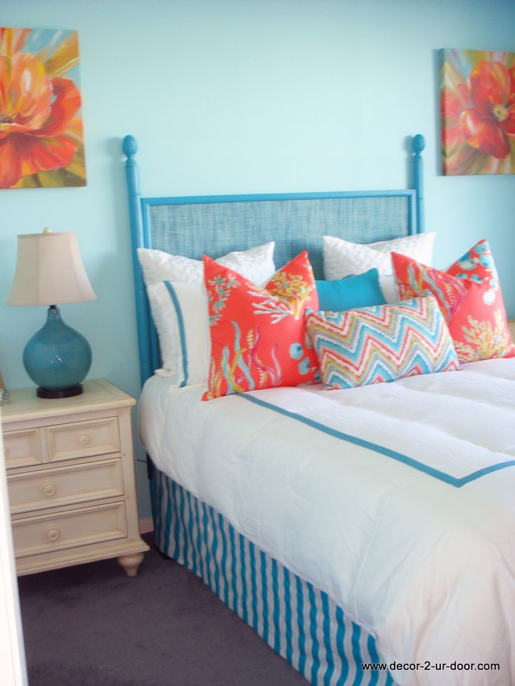 Coral And Blue Beachy Bedding Set Coastal Living Bedding And Decor Custom Pillows Exclusive