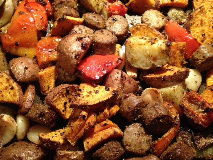 Roasted organic red & sweet potatoes, peppers, onions & vegan sausage...