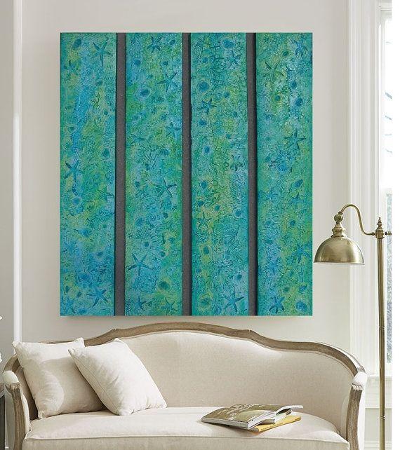 Large Wood Wall Art Textured Acrylic Paintings Nautical Art Nau