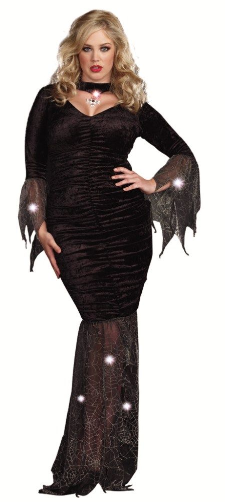 The seductive and sexy style of Morticia Addams can be used to grace the party with your appearance. Our women's Plus Size Mysterious Mistress Costume includes a long sleeve crushed velvet knit black dress featuring center front ruching, attached black choker with silver pendant that creates a heart-shaped keyhole cutout and sheer spider-web shimmer chiffon along the sleeve cuffs and hemline.
