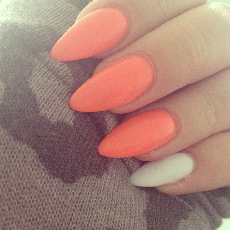 nails orange stiletto nails pinterest