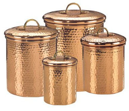Set Of 4 Hammered Copper Food Canisters Old Dutch