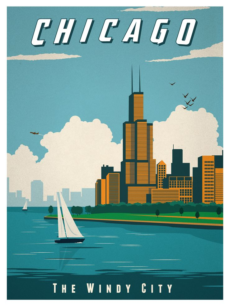 Vintage chicago print my posters and prints pinterest for Vintage chicago posters