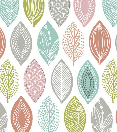 cute leaves by Wendy Kendall - would love to see this painted on a wall or as a wallpaper for a baby room