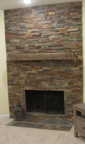 slate fireplace cabin pinterest