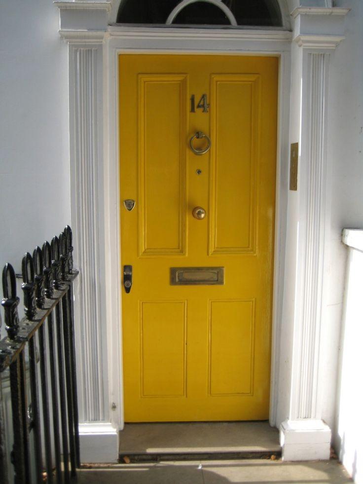 Yellow door diy outdoor ideas pinterest for Door in front of front door