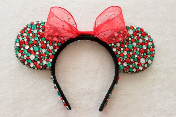 Holiday Red Green & Clear Rhinestone Minnie Mouse by GlitzyVault, $63.00 // Must have for Christmas