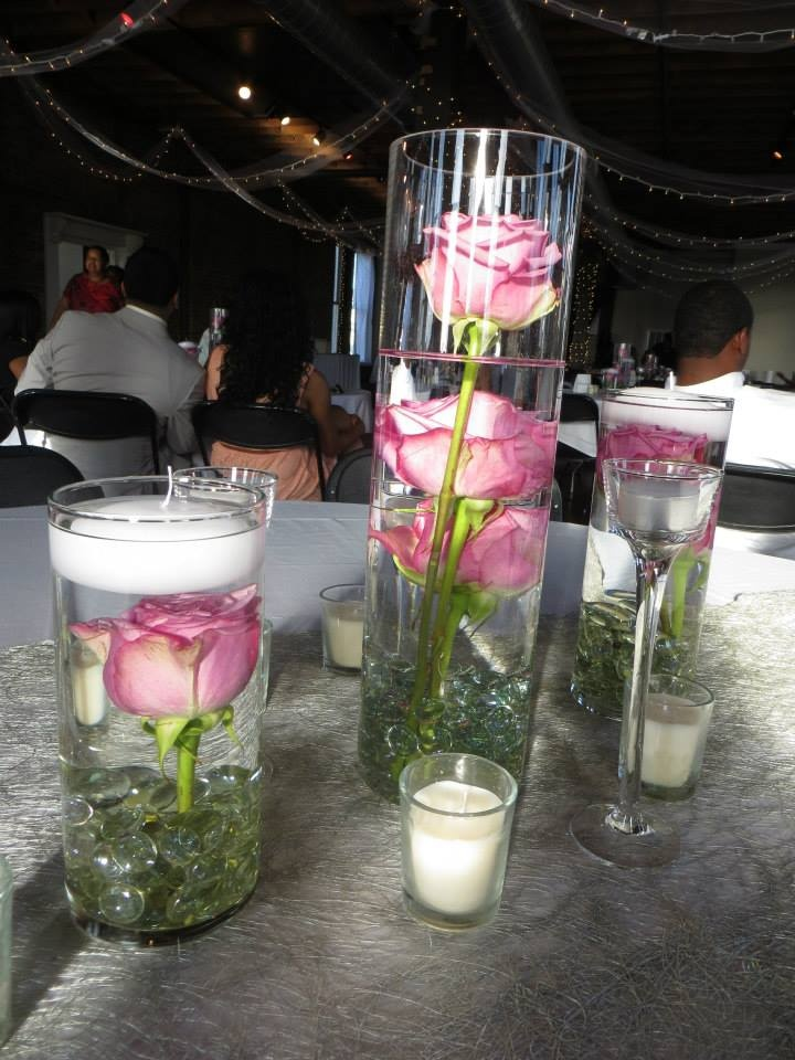 Submerged rose centerpieces just candles