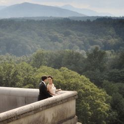 With the elegant architecture and a view of the lush Blue Ridge Mountains, this wedding was like something out of a movie.