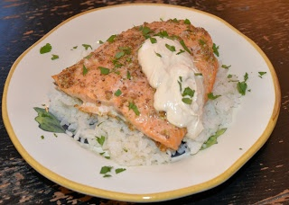 Salmon with Coriander Rub and Lime Cream from The Helpful Husband ...