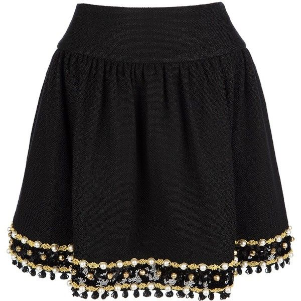 MOSCHINO CHEAP & CHIC embellished pleated skirt found on Polyvore