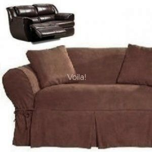 Reclining Loveseat Slipcover Adapted For Dual Recliner Love Seat Suede Chocolate Slipcover 4