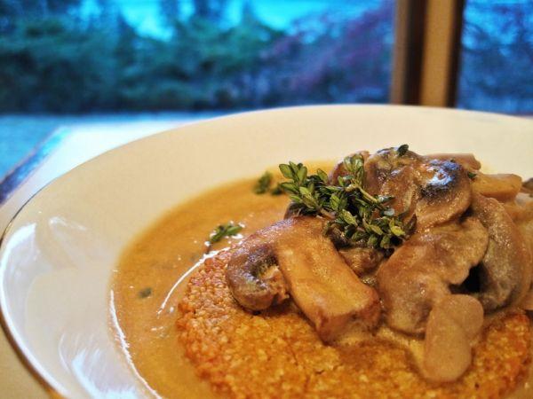 Mushroom Thyme Gravy over Butternut Squash Almond Biscuits