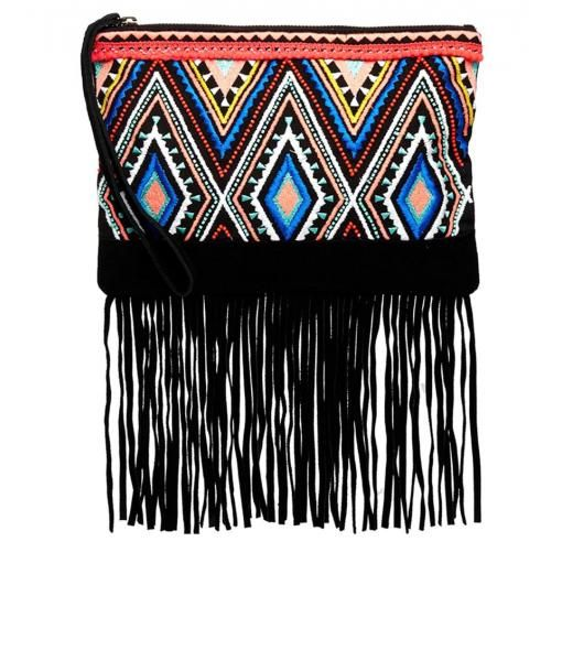 Printed Clutch with Suede Fringing
