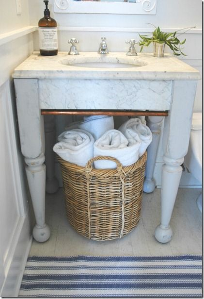 Decorating Bathroom Baskets Towels : Bed posts turned upside down for legs bathrooms