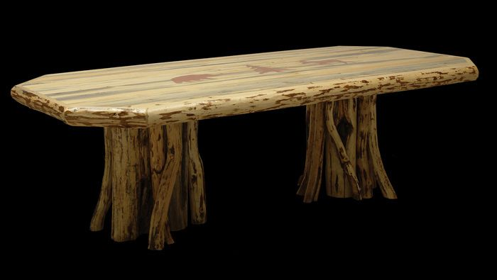 Knotty Pine Table With Stump Legs Log Furniture Pinterest