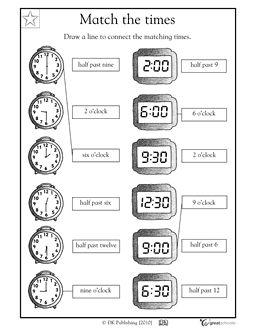 Match the times! | Math | Pinterest