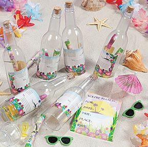 Invitations in a bottle, find how it's done on the Luau theme
